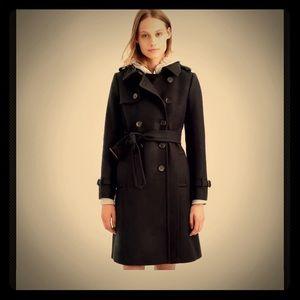 JCrew Black Cashmere Icon Trench Coat Size 12 NWT